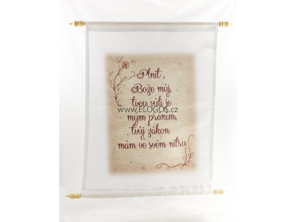 Textilní nastěnný obraz s biblickým textem