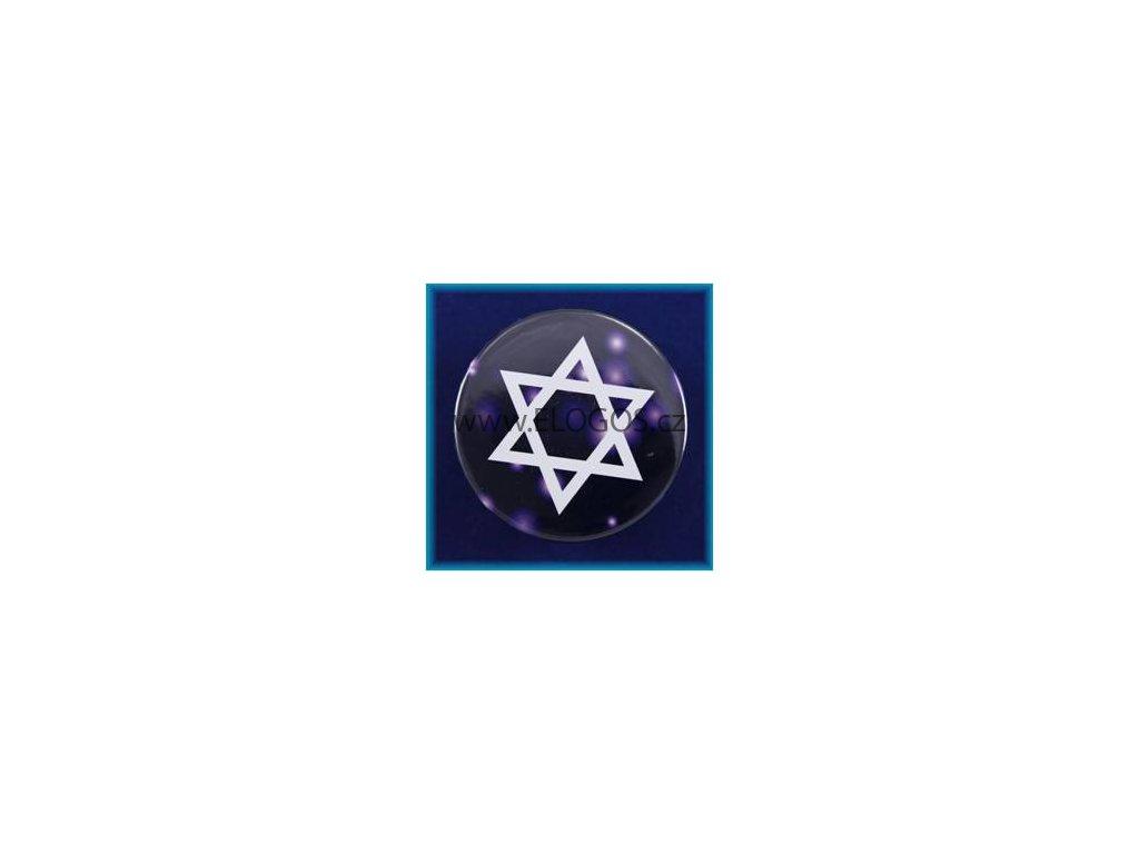 Magnetek s textem-prům.5cm- Davidova hvězda
