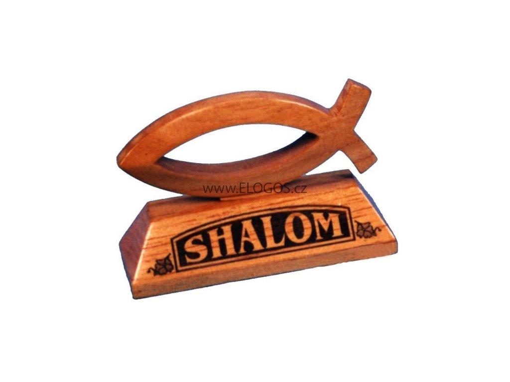 Shalom -dekorace z dřeva.