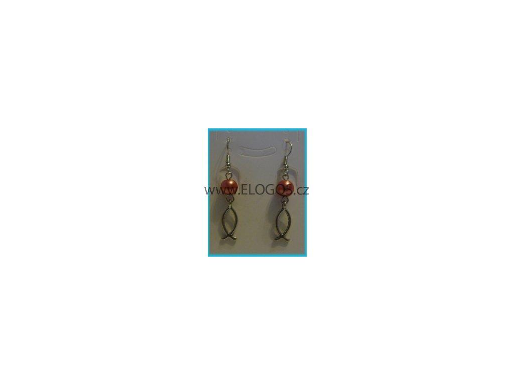 Náušnice - Ryba  plus  růžový korálek