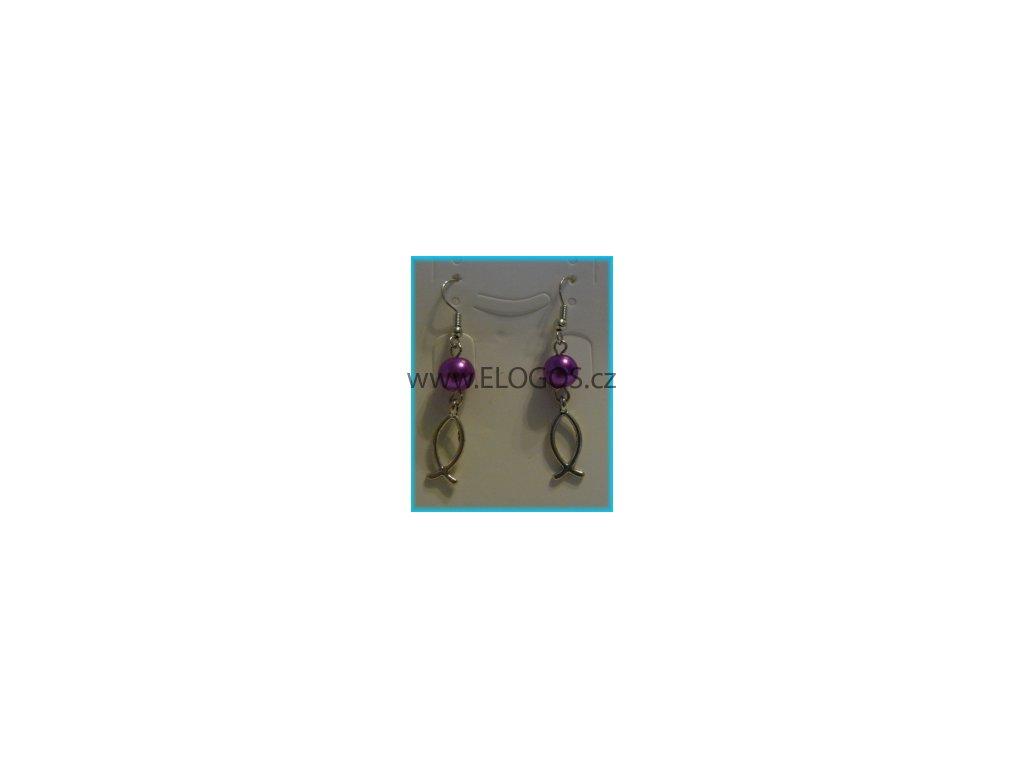Náušnice - Ryba  plus  fialový korálek