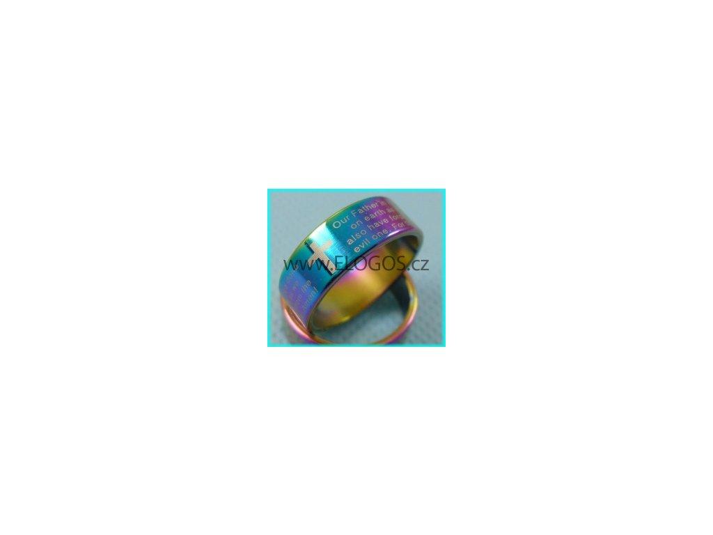 Prsten fialová-duhová - Modlitba Páně nerez (Anglicky)