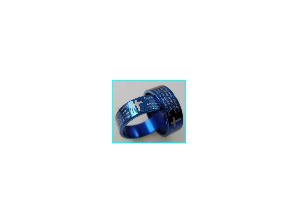 Prsten modrý - Modlitba Páně nerez (Anglicky)