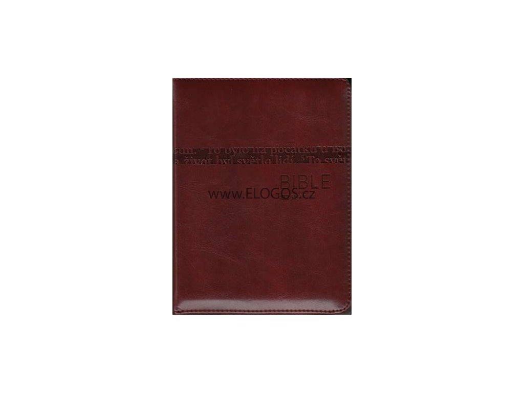Bible čEP DT malá, zip, hnědá, výřezy