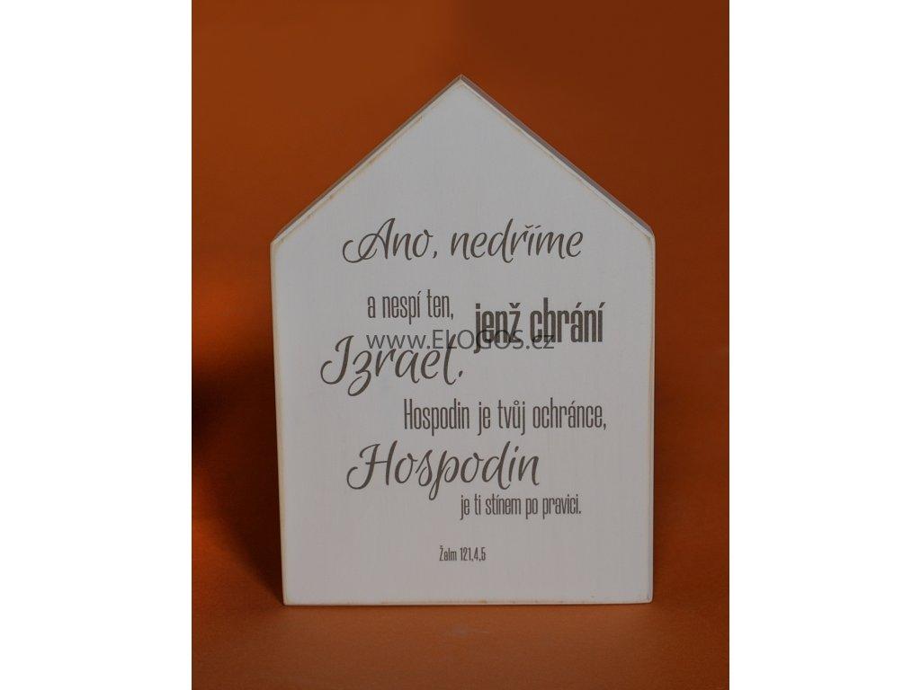 Domek s dřeva na stěnu s biblickým veršem.