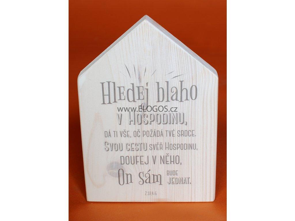 Domek s dřeva na stěnu  nebo postaveni  s  biblickým veršem.