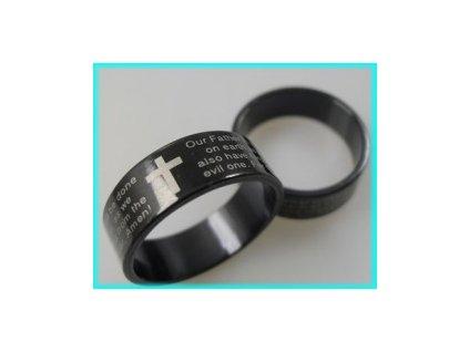 Prsten černý- Modlitba Páně nerez (Anglicky)