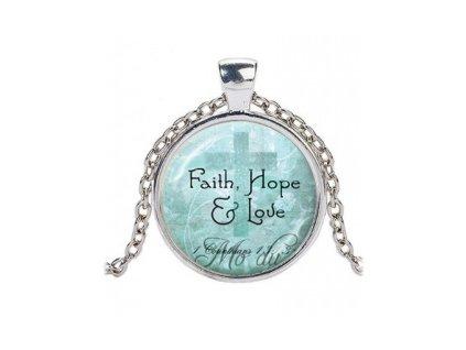 Náhrdelník skleněný - Faith, Hope, Love