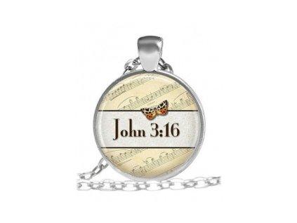 Náhrdelník skleněný - John 3:16