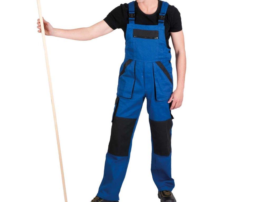 Pánske monterkové nohavice s náprsenkou MAX modré - dopredaj
