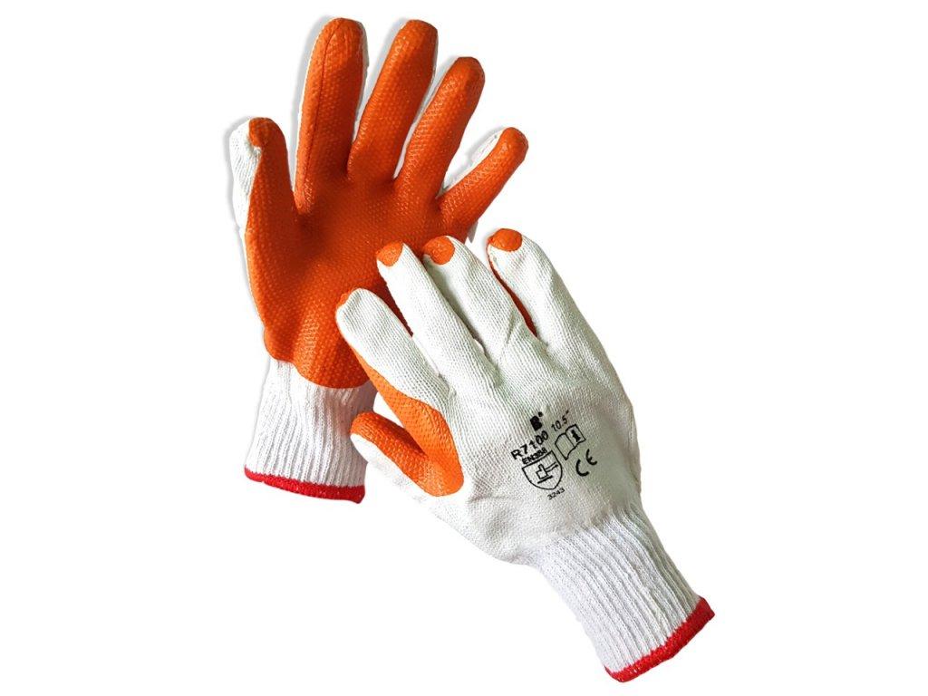 Máčané latexové bavlneno polyesterové rukavice R7100 ROX