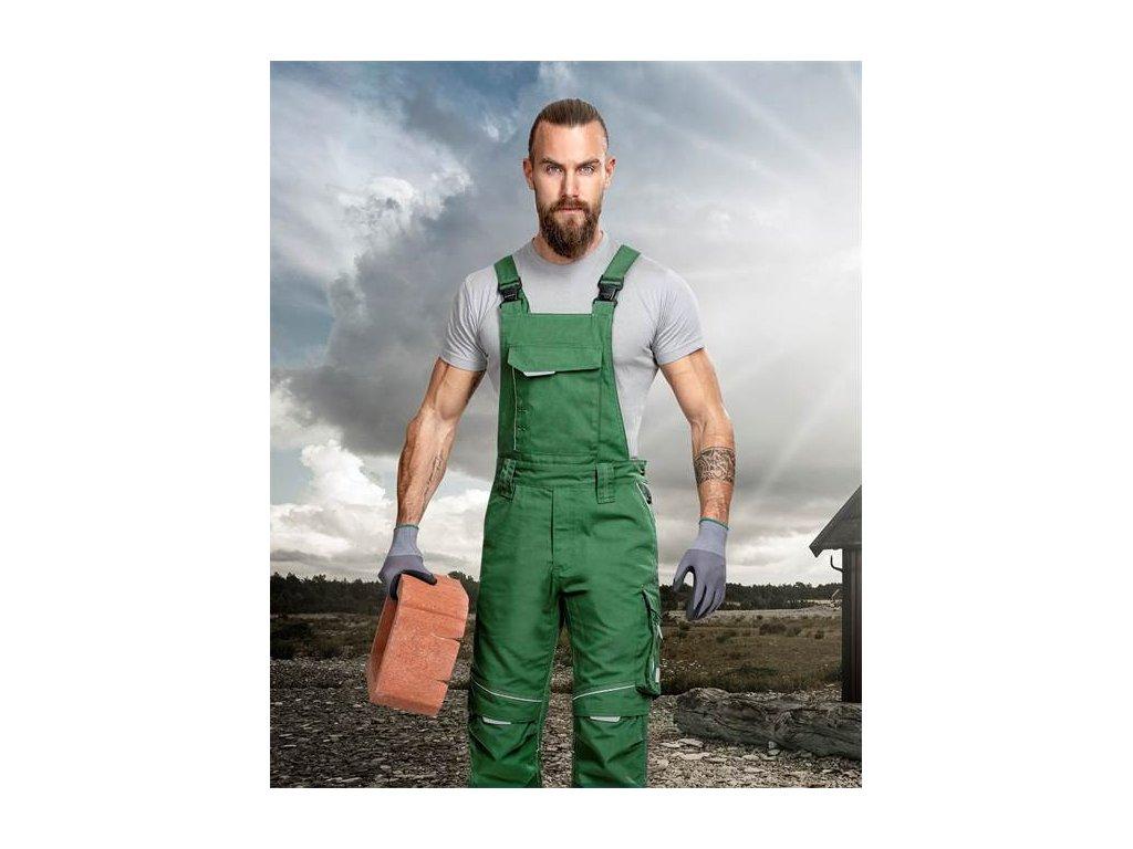 Nohavice s náprsenkou URBAN+ zelené skrátené