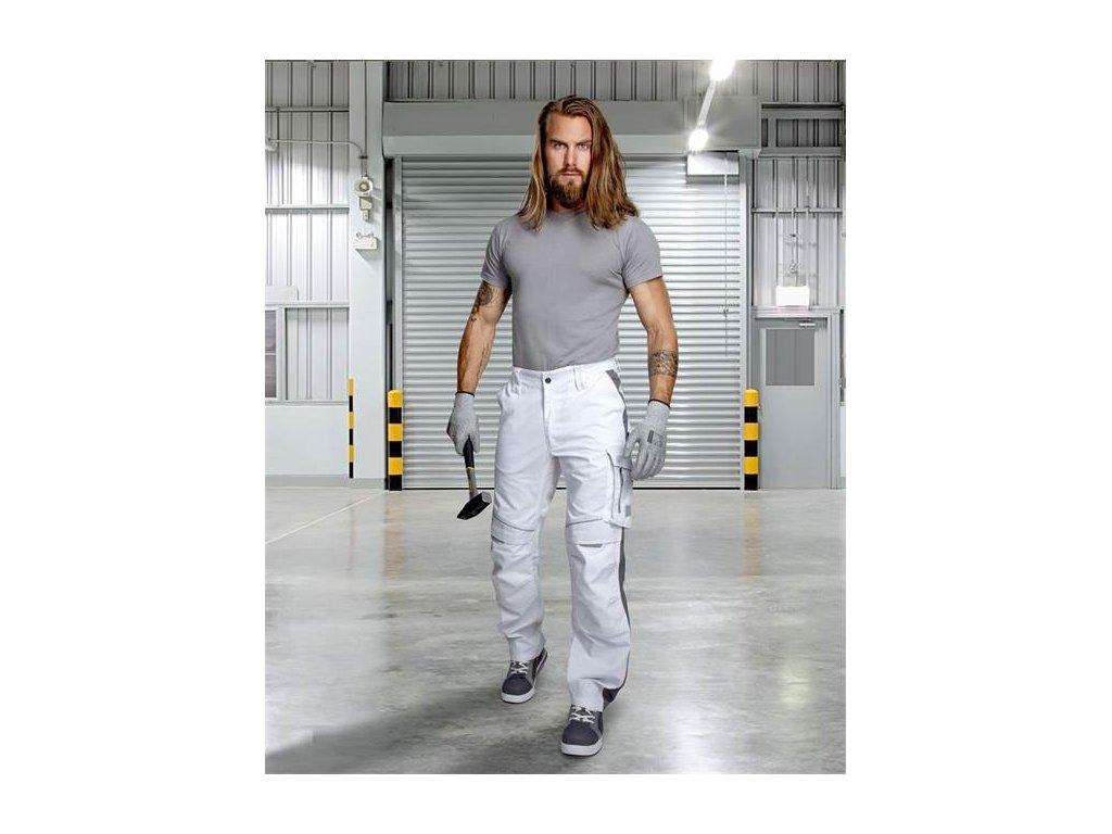 Nohavice do pása URBAN+ bielo-sivé predľžené
