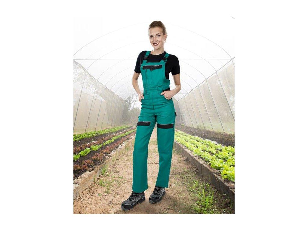Nohavice s náprsenkou COOL TREND dámske zeleno-čierne