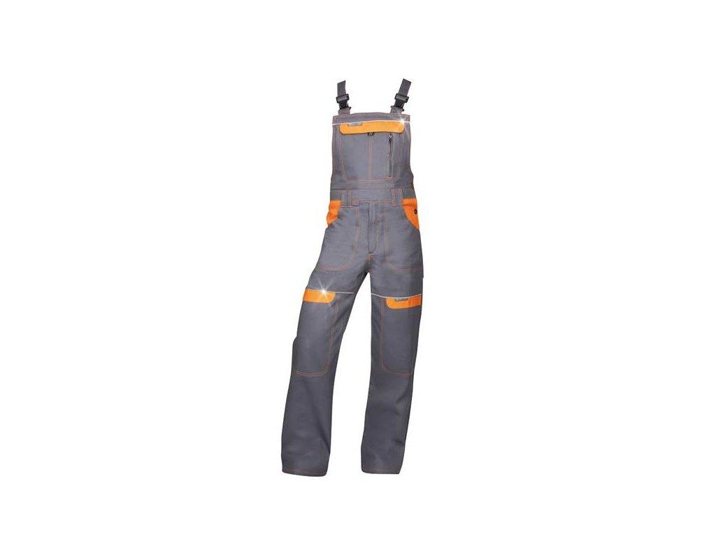 Nohavice s náprsenkou COOL TREND sivo-oranžové