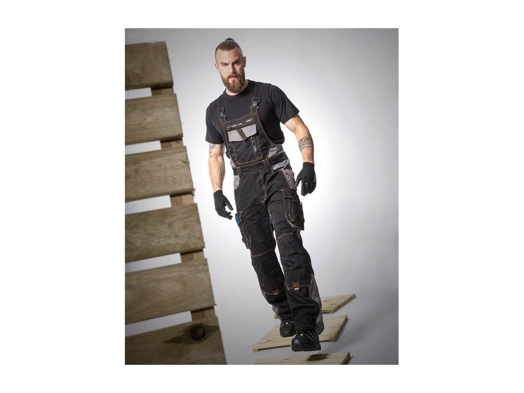 Nohavice s náprsenkou ARDON®VISION 03 čierno-sivé, skrátené