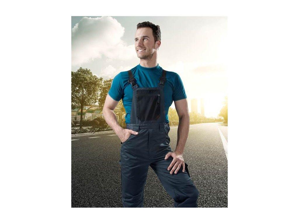 Nohavice s náprsenkou ARDON®4TECH 03 sivo-čierne, skrátené