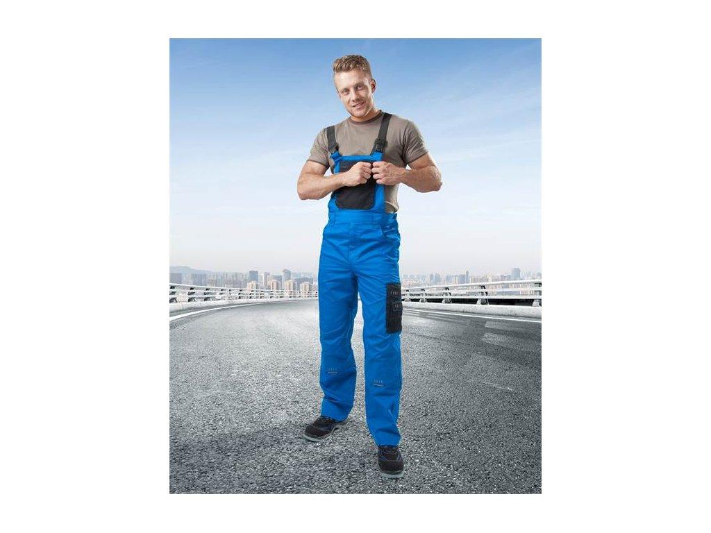 Nohavice s náprsenkou 4TECH 03 modro-čierne, skrátené