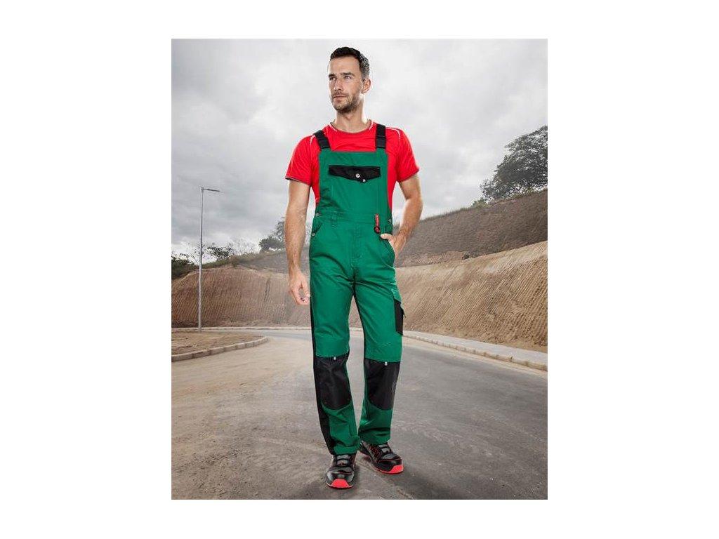 Nohavice s náprsenkou PRE100 03 zeleno-čierne