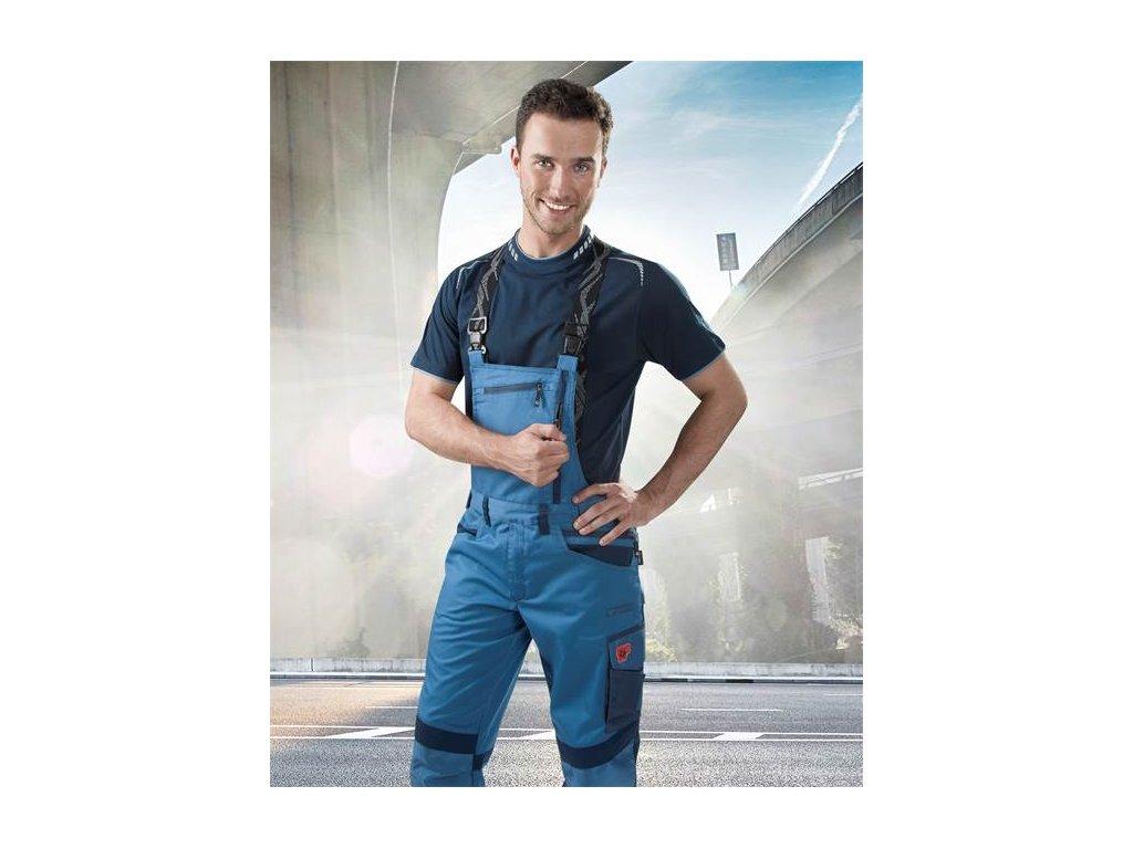 Nohavice s náprsenkou R8ED+ modrá, skrátené