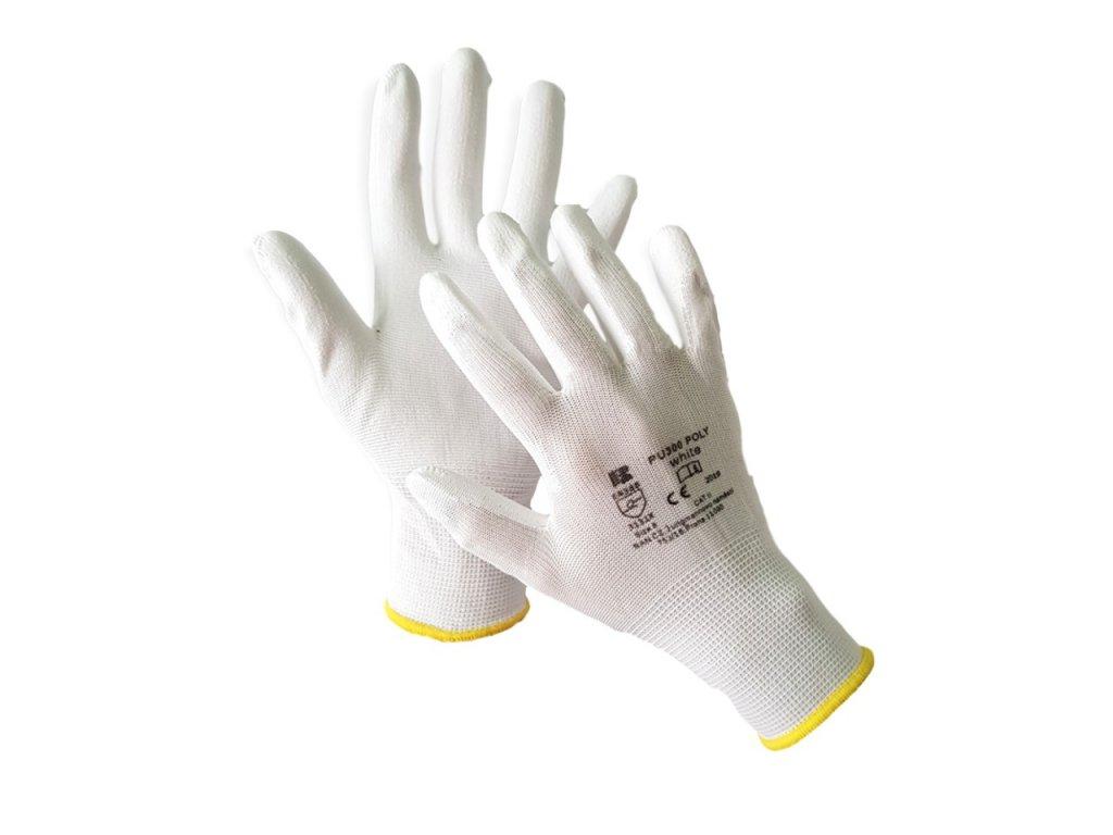 Máčané polyuretánové rukavice PU300 POLY WHITE