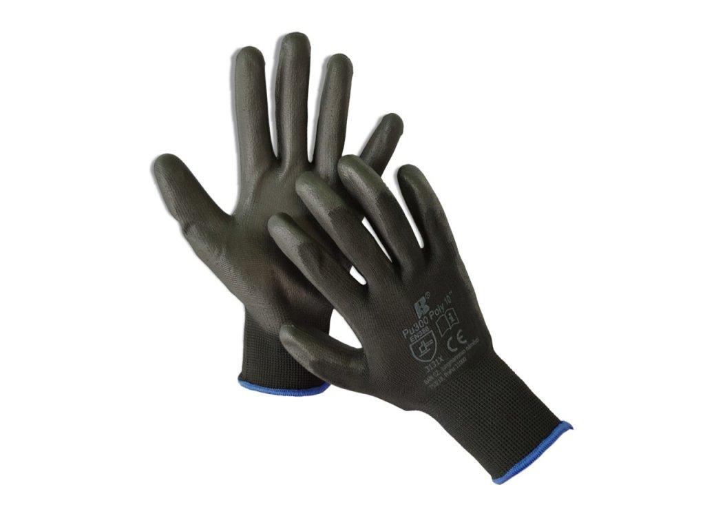 Máčané polyuretánové rukavice PU300 POLY BLACK