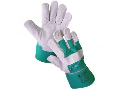 Kombinované odolné kožené rukavice EGON GREEN 12
