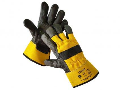 Kombinované kvalitné kožené rukavice OLIVER
