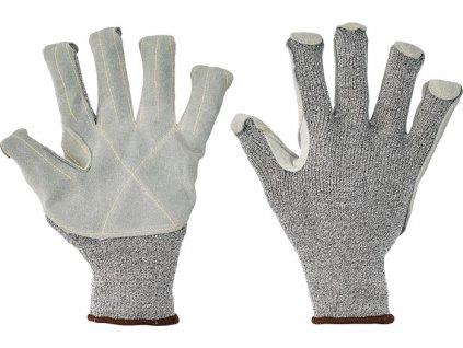 Bezšvové pletené a kožené protiporezové rukavice CROPPER STRONG