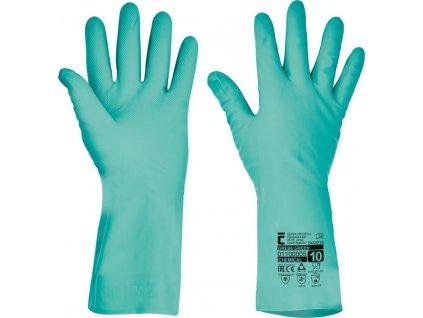 Chemicky odolné nitrilové pracovné rukavice GREBE