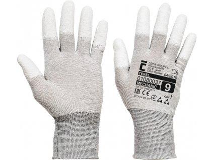 Nylonové antistatické rukavice s máčanými končekmi prstov TEREL