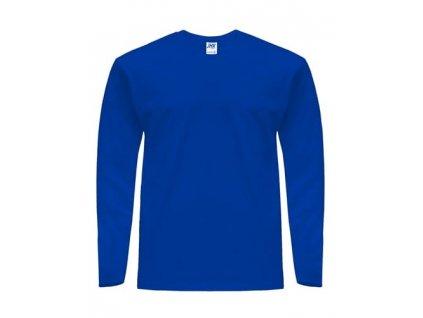 Pánske bavlnené tričko s dlhým rukávom TSRA150LS kráľovsky modré