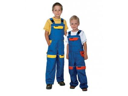 Detské nohavice s náprsenkou COOL TREND modro-žlté