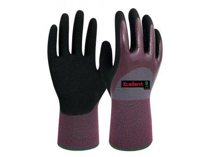Ergonomické máčané pracovné nitrilové rukavice XCELLENT 18-009