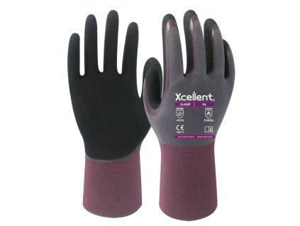 Ergonomické máčané pracovné nitrilové rukavice XCELLENT 18-009P