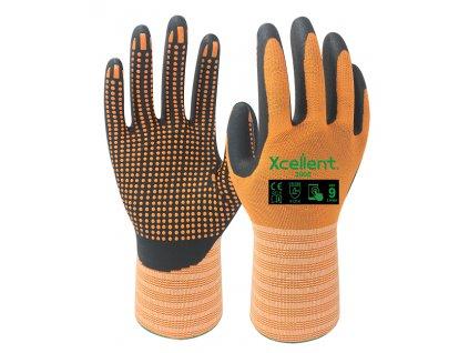 Ergonomické pracovné nitrilové rukavice s terčíkmi XCELLENT 3006