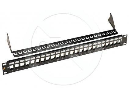 Univerzálny modulárny neosadený patch panel Solarix 24 portov čierny 1U SX24-0-STP-BK-UNI