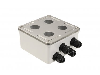 Průmyslový box Solarix s nerez čelem pro 4 x zásuvkový modul IP67 SX4-IN-0-GY