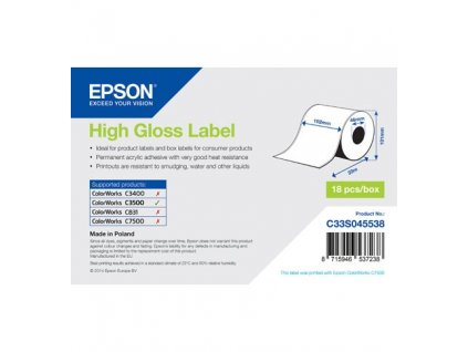 High Gloss Label Cont.R, 102mm x 33m