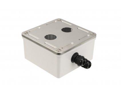 Průmyslový box Solarix s nerez čelem pro 2 x zásuvkový modul IP67 SX2-IN-0-GY