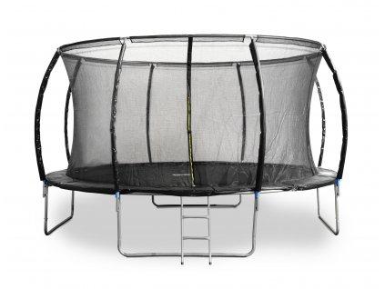 Trampolína G21 SpaceJump 430 cm, čierna, s ochrannou sieťou + schodíky zadarmo