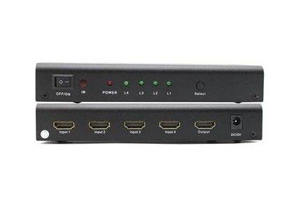 PremiumCord HDMI switch 4:1, kovový, dálkové ovl.