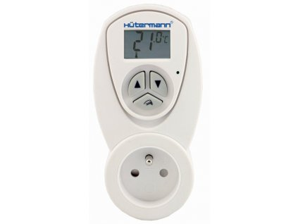 Zásuvkový elektronický termostat Hütermann pro ovládání topení, např. koupelnový radiátor, přímotop apod. typ TZ63 (do zásuvky)