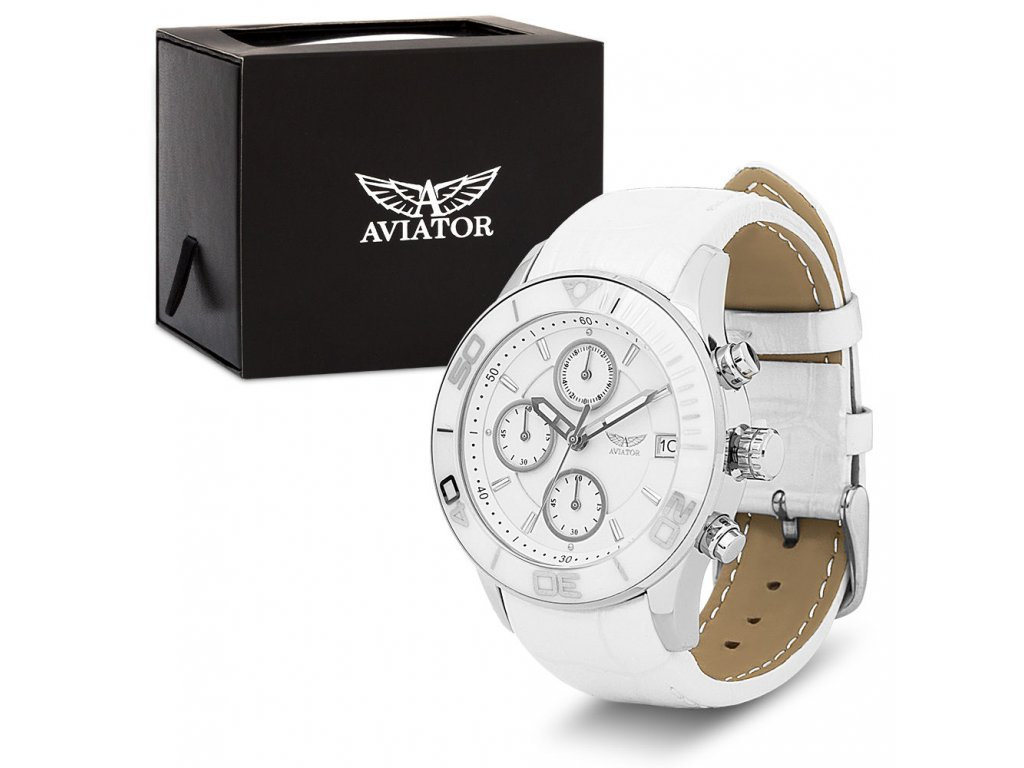 aviator damske biele hodinkyavw9228l71