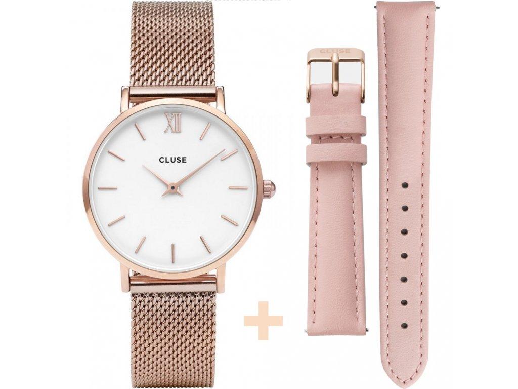 damske hodinky CL30013 Minuit Mesh rose gold pink