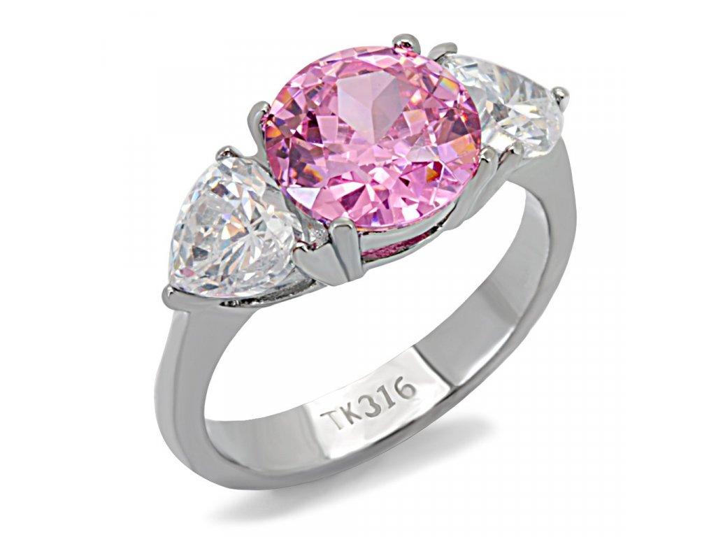 damsky ocelovy prsten ruzovy sr0116