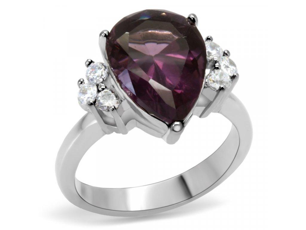 Prsteň z ušľachtilej ocele ametist SR0167