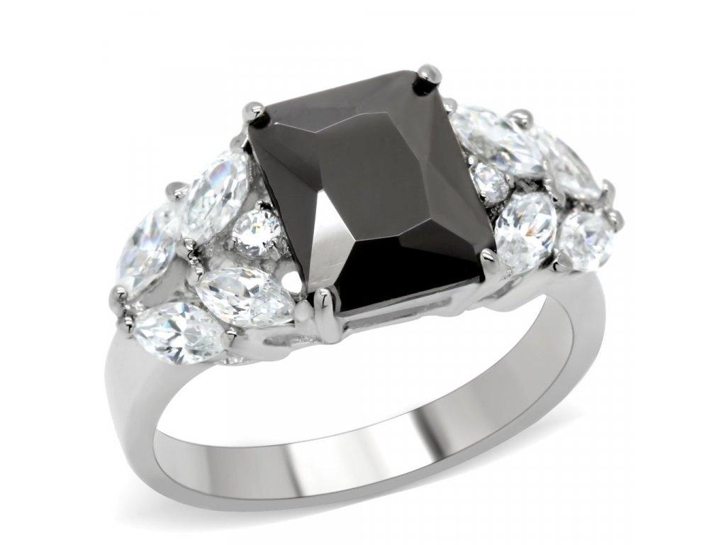 damsky ocelovy prsten onyx sr0182
