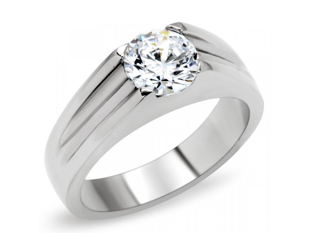 Prsteň z ušľachtilej ocele zdobený zirkónom SR0193