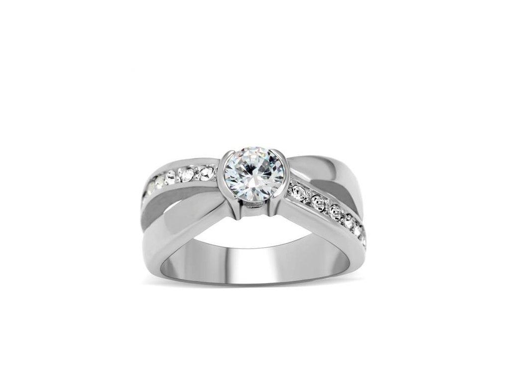 damsky ocelovy prsten so zirkonom sr214